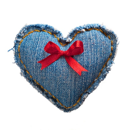 Valentine jeans heart with red holiday ribbon white. Stock Photo - 17604300