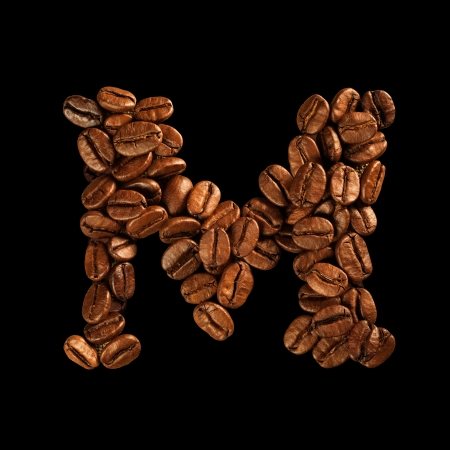 Coffee alphabet letter isolated on black Stock Photo - 17604273