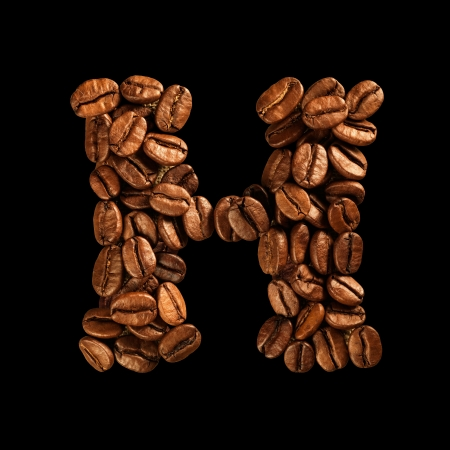 Coffee alphabet letter isolated on black Stock Photo - 17604268