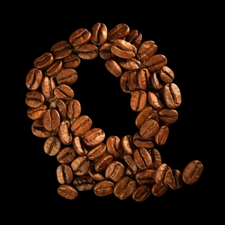 Coffee alphabet letter isolated on black Stock Photo - 17604292