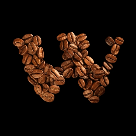 Coffee alphabet letter isolated on black Stock Photo - 17604269