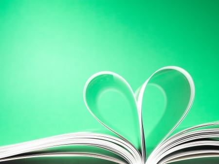 pages of a book curved into a heart shape Stock Photo - 17604330