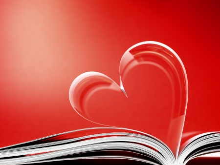 pages of a book curved into a heart shape Stock Photo - 17604326