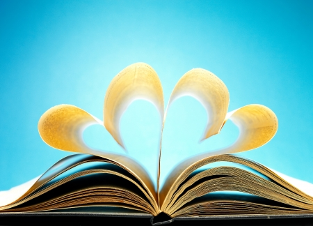 pages of a book curved into a heart shape Stock Photo - 17604331