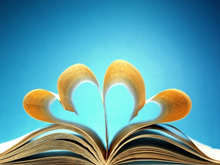 pages of a book curved into a heart shape Stock Photo - 17604338