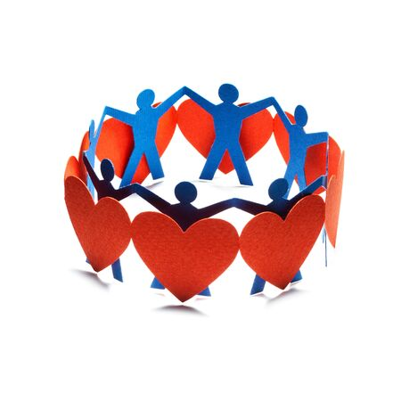 Group of red valentine hearts connected in chain, paper craft Stock Photo - 17604207