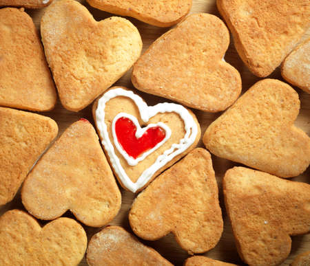 Heart shaped cookies on wooden table background Stock Photo - 17604328