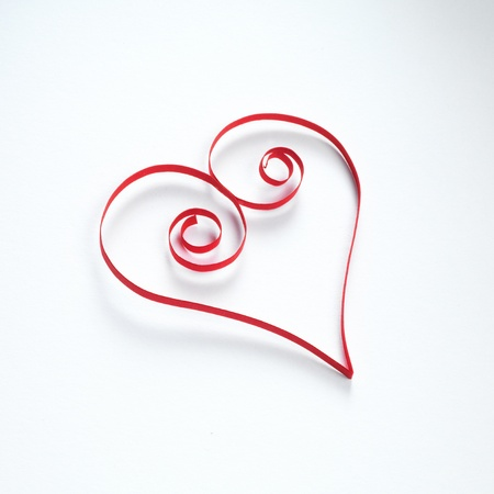Heart made of paper stripes on white paper background Stock Photo - 17604212