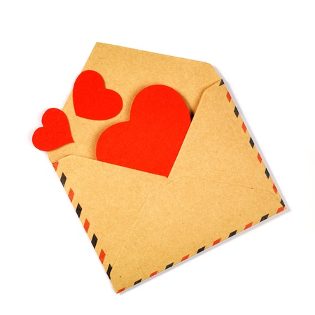 Envelope with valentine hearts on white Stock Photo - 17604296