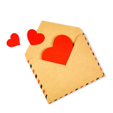 Envelope with valentine hearts on white Stock Photo - 17604299