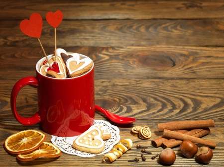 Valentine background with Fresh delicious cookies and cup Stock Photo - 17604332