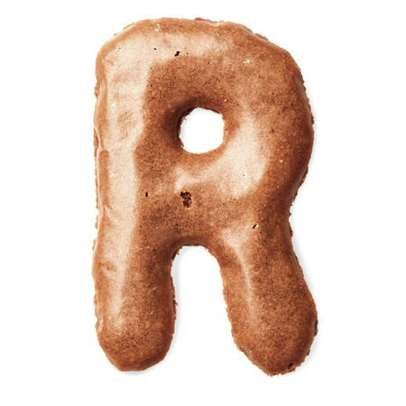 Letters made of caramel cookies photo