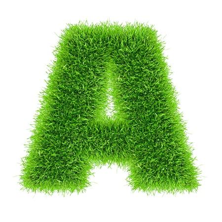 白で隔離される草のアルファベットの文字 写真素材
