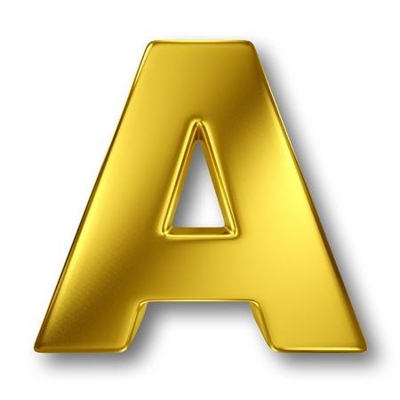 letras de oro: Carta en metal de oro sobre fondo blanco