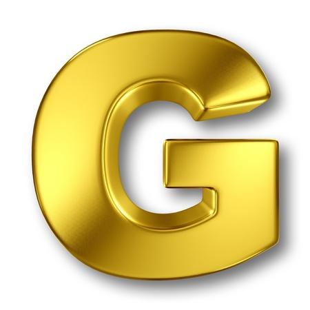 letras doradas: Carta en metal de oro sobre fondo blanco