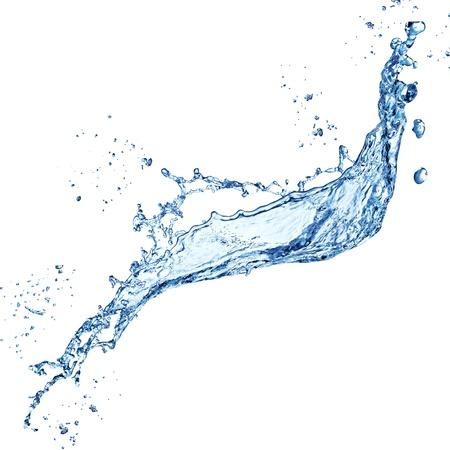 gota de agua: salpicaduras de agua azul aislado sobre fondo blanco Foto de archivo
