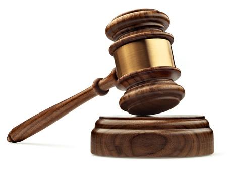 martillo juez: Un juez madera martillo y caja de resonancia aislada en el fondo blanco en perspectiva