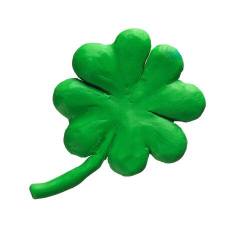 St Patrick holiday symbol - clover. Made of Plasticine and isolated on white Stock Photo - 18840109