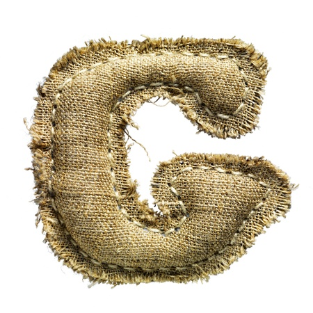 white linen: Linen vintage cloth letter isolated on white