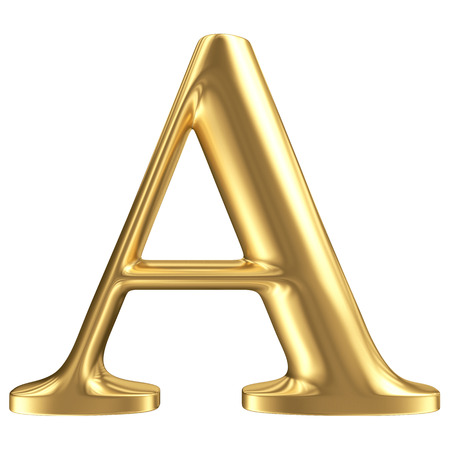 script: Golden matt letter A, jewellery font collection Stock Photo