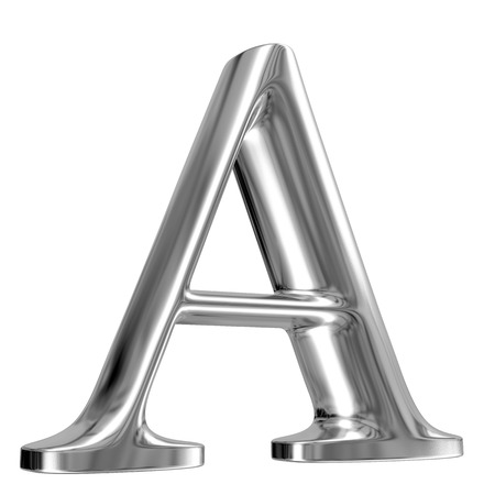 massive: Metal Letter A from chrome solid alphabet. Stock Photo
