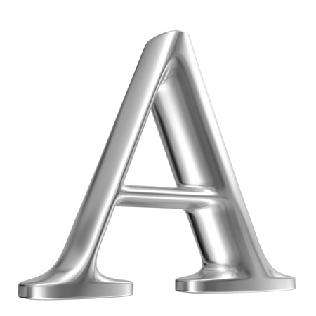 Aluminium font letter A in perspective photo