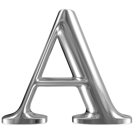 Metal Letter A from chrome solid alphabet. Stock Photo