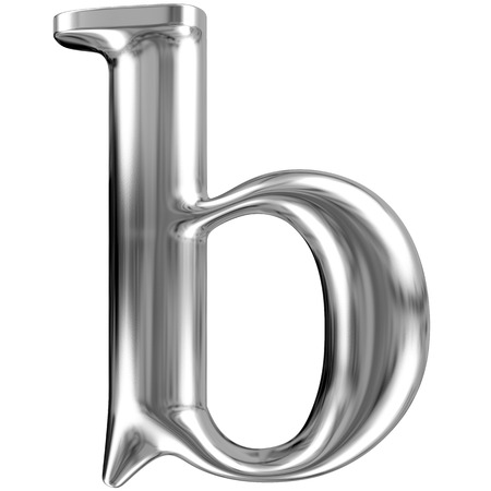 Metal lowercase Letter B from chrome solid alphabet  photo