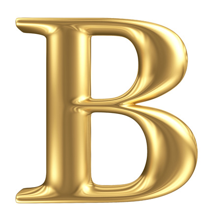 Golden matt letter B, jewellery font collection photo