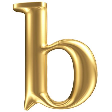 letras doradas: Oro mate minúscula letra b, colección de fuentes joyería