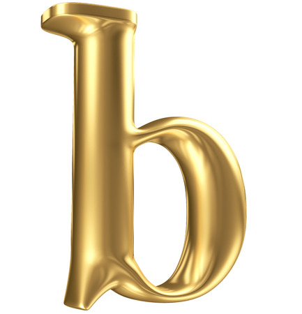 Golden matt lowercase letter b in perspective, jewellery font collection Stock Photo - 23194760