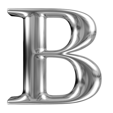 solid silver: Metal Letter B from chrome solid alphabet. Stock Photo