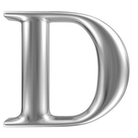 cromo: Aluminio fuente de la letra D Foto de archivo