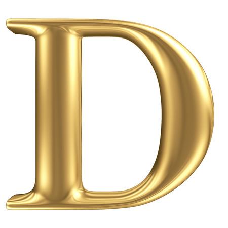 Golden matt letter D, jewellery font collection photo