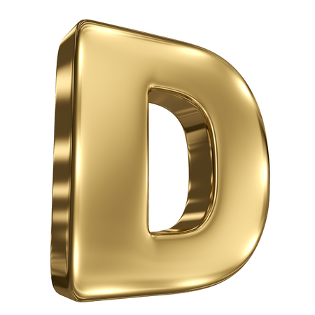 letter box: Letter D from gold solid alphabet