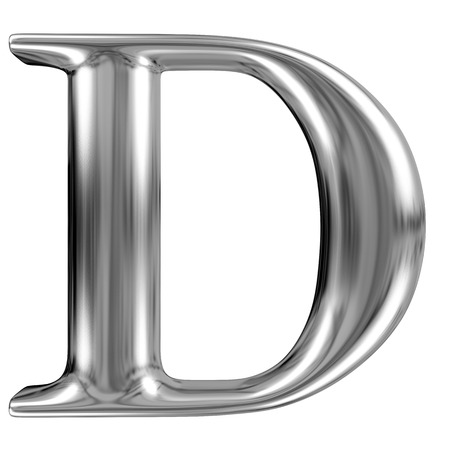 Metal Letter D from chrome solid alphabet.