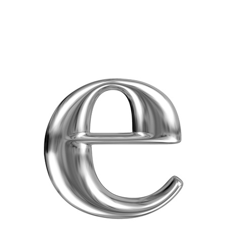 e alphabet: Metal lowercase Letter E from chrome solid alphabet