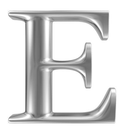 letras cromadas: Aluminio fuente de la letra E Foto de archivo