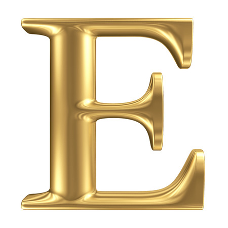 Golden matt letter E, jewellery font collection Stock Photo