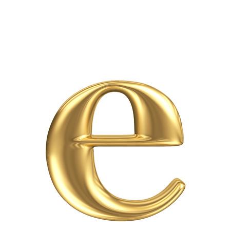 metaal: Gouden matte kleine letter e, juwelen fontcollectie Stockfoto