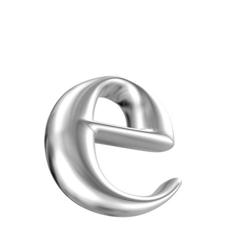 letras cromadas: Aluminio fuente lorewcase letra e en perspectiva, vista bootom Foto de archivo