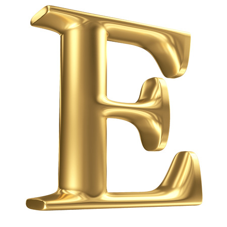 gold font: Golden matt letter E in perspective, jewellery font collection Stock Photo