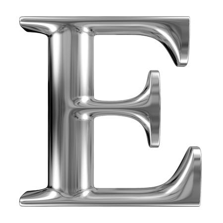 letras cromadas: Letra E metal de cromo alfabeto sólido. Foto de archivo