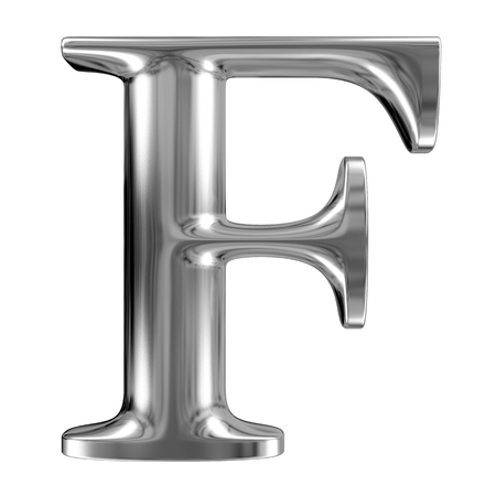 Metal Letter F from chrome solid alphabet.