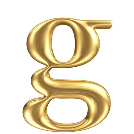 letras doradas: Oro mate letra minúscula g, colección de fuentes joyería Foto de archivo