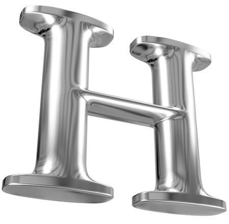 letras cromadas: Metal letra H del alfabeto de cromo sólido.