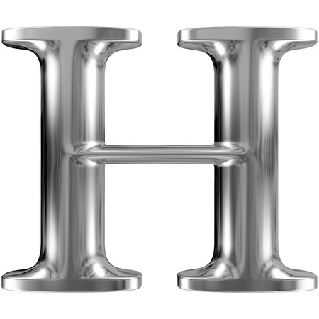 Metal Letter H from chrome solid alphabet.