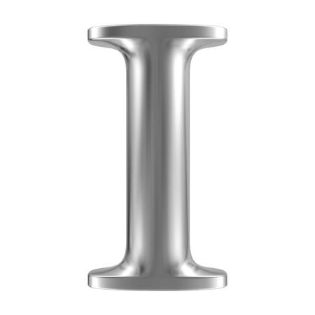 chrome letters: Aluminium font letter I