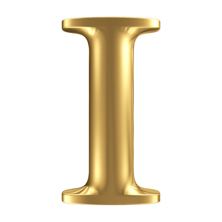 Golden matt letter I, jewellery font collection Stock Photo