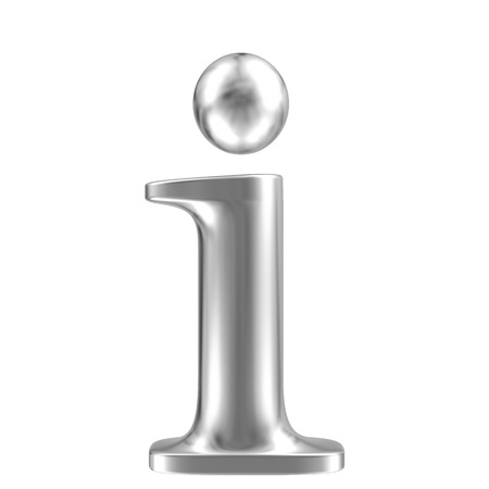 inox: Aluminium font lorewcase letter i Stock Photo